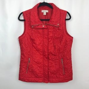 Red Christopher & Banks quilted Vest